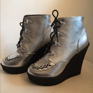 TUK creepers silver rockabilly ankle boots nwob